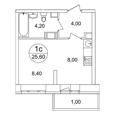 1-комн квартира, 25.6 м2, 15 этаж - фото 1