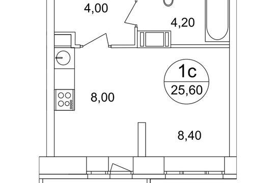 1-комн квартира, 25.6 м2, 16 этаж