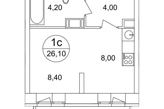 1-комн квартира, 26.1 м<sup>2</sup>, 13 этаж_1
