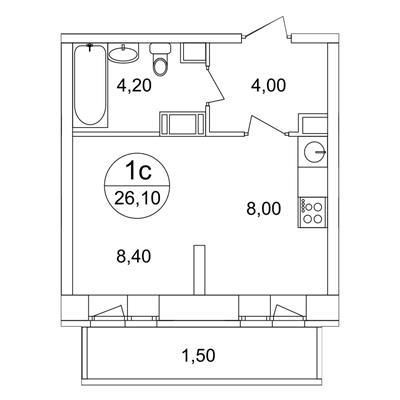 1-комн квартира, 26.1 м2, 13 этаж - фото 1