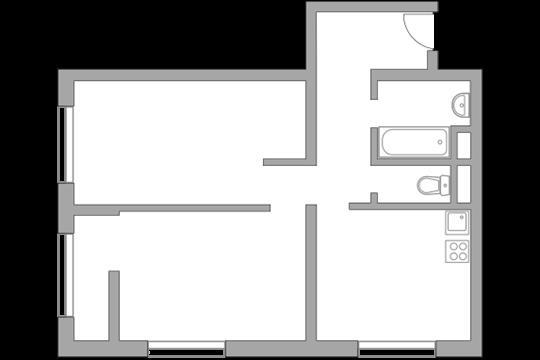 2-комн квартира, 52.3 м2, 9 этаж