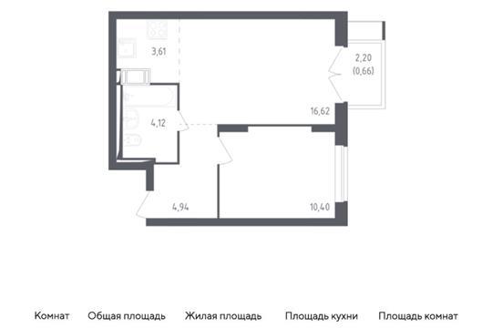 2-комн квартира, 40.35 м2, 13 этаж