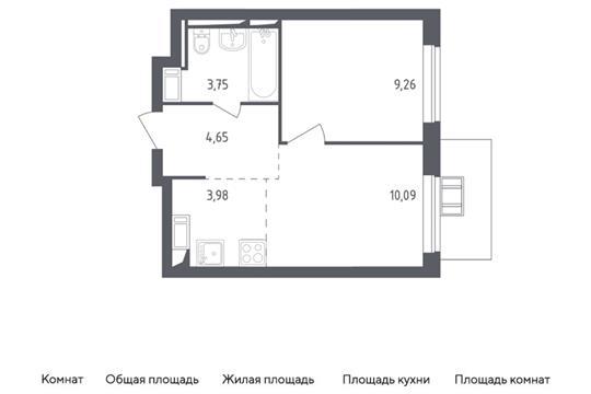 2-комн квартира, 31.73 м2, 13 этаж