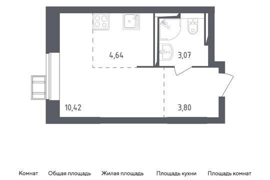 Студия, 21.39 м2, 17 этаж