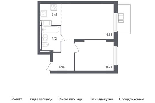 2-комн квартира, 39.69 м2, 17 этаж
