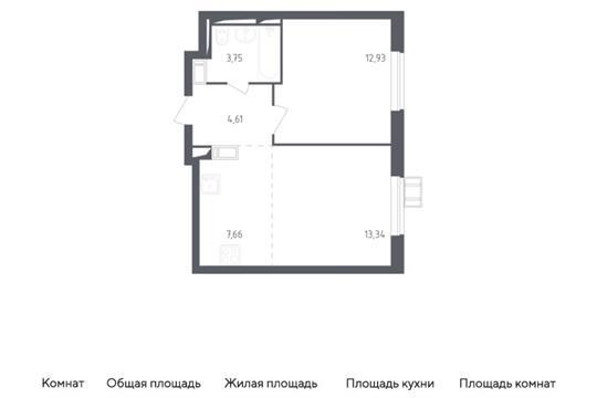 2-комн квартира, 42.29 м2, 17 этаж
