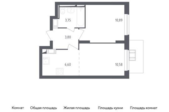 2-комн квартира, 35.62 м2, 17 этаж