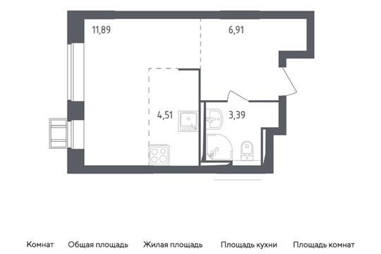 Студия, 26.7 м2, 2 этаж