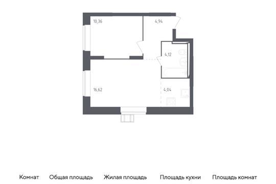 2-комн квартира, 40.08 м<sup>2</sup>, 2 этаж_1