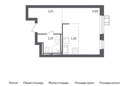 Студия, 26.25 м2, 13 этаж
