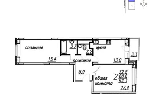2-комн квартира, 62.3 м2, 1 этаж