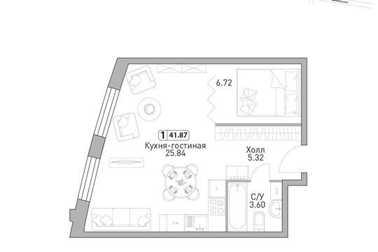 1-комн квартира, 40.38 м2, 36 этаж