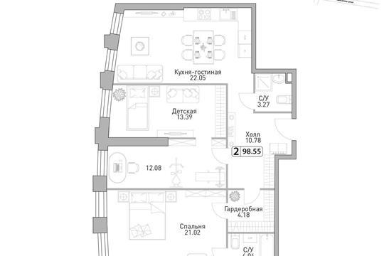 3-комн квартира, 93.9 м2, 39 этаж