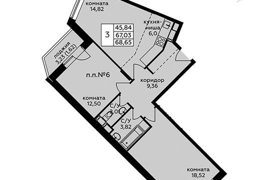 3-комн квартира, 68.65 м2, 17 этаж