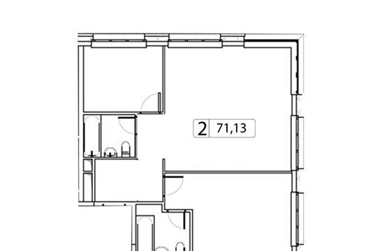 2-комн квартира, 71.13 м2, 6 этаж