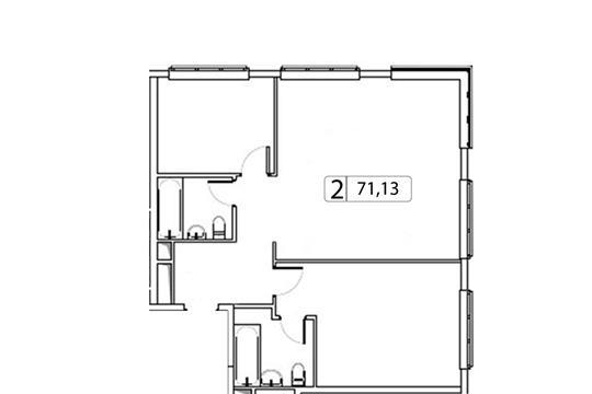 2-комн квартира, 71.13 м2, 4 этаж