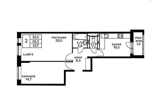 2-комн квартира, 57.9 м2, 5 этаж