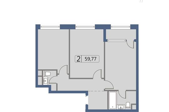 2-комн квартира, 60.1 м2, 12 этаж