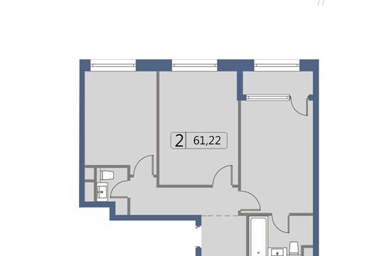 2-комн квартира, 61.4 м2, 2 этаж
