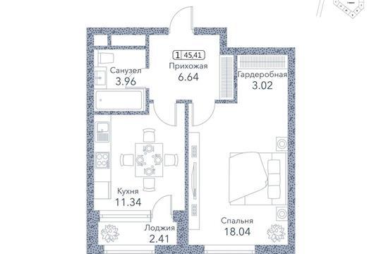 1-комн квартира, 45.4 м2, 3 этаж
