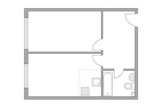 2-комн квартира, 41.3 м2, 2 этаж