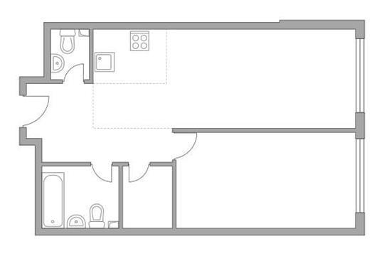 2-комн квартира, 52.5 м2, 3 этаж