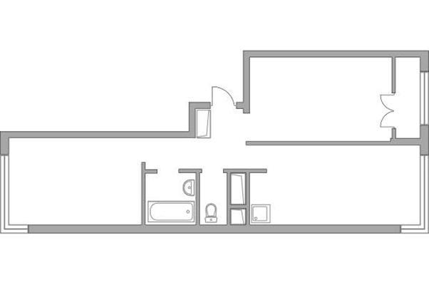 2-комн квартира, 54.34 м2, 20 этаж - фото 1