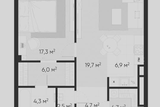 2-комн квартира, 66.1 м2, 4 этаж