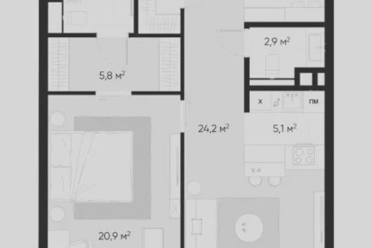 2-комн квартира, 71.5 м2, 2 этаж