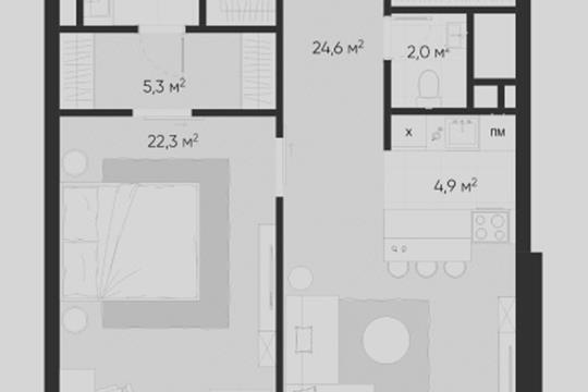 2-комн квартира, 71.7 м2, 3 этаж