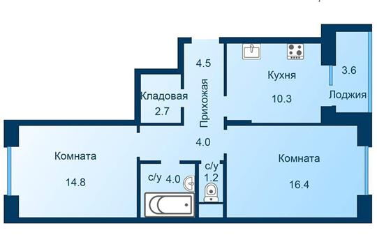 2-комн квартира, 59.7 м2, 4 этаж