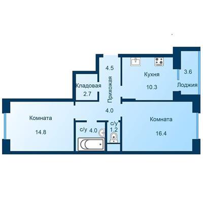 2-комн квартира, 59.7 м2, 4 этаж - фото 1