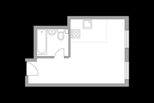 1-комн квартира, 22.9 м2, 2 этаж