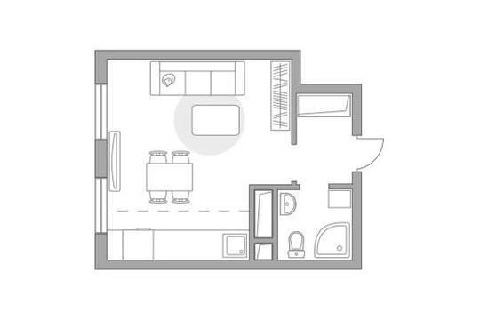 Студия, 25.66 м2, 6 этаж