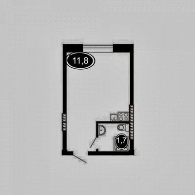 Студия, 11.8 м2, 1 этаж - фото 1