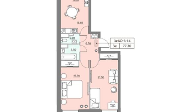 2-комн квартира, 77.3 м2, 14 этаж