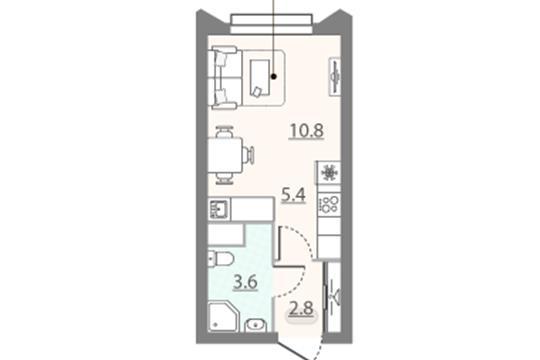 Студия, 22.6 м2, 11 этаж