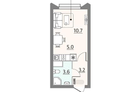 Студия, 22.5 м2, 11 этаж