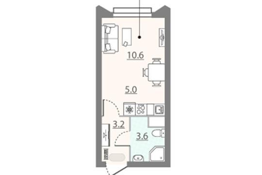 Студия, 22.4 м2, 11 этаж