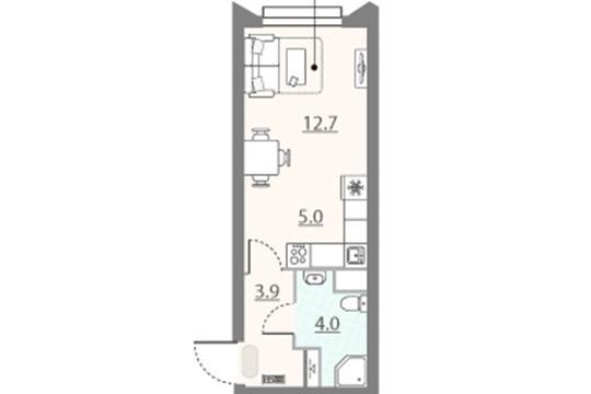 Студия, 25.6 м2, 11 этаж