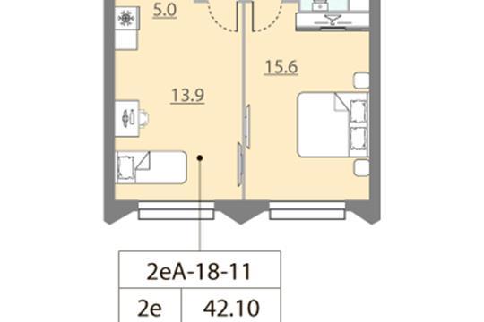 1-комн квартира, 42.1 м2, 11 этаж