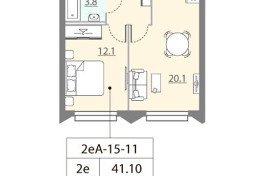 1-комн квартира, 41.1 м2, 11 этаж