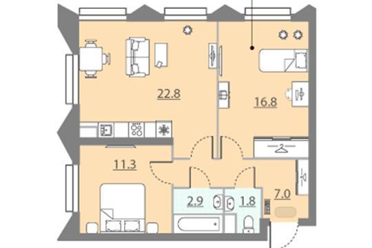 2-комн квартира, 62.6 м2, 11 этаж