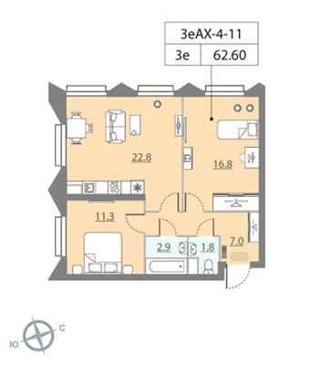 2-комн квартира, 62.6 м2, 11 этаж - фото 1