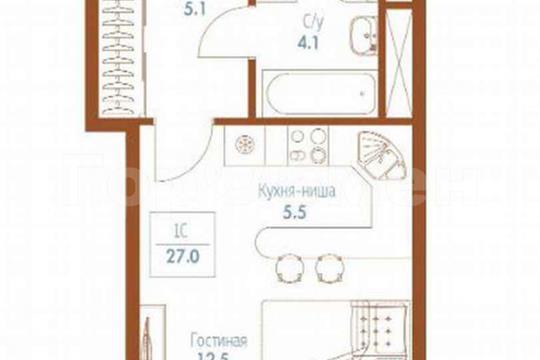 1-комн квартира, 27 м2, 11 этаж