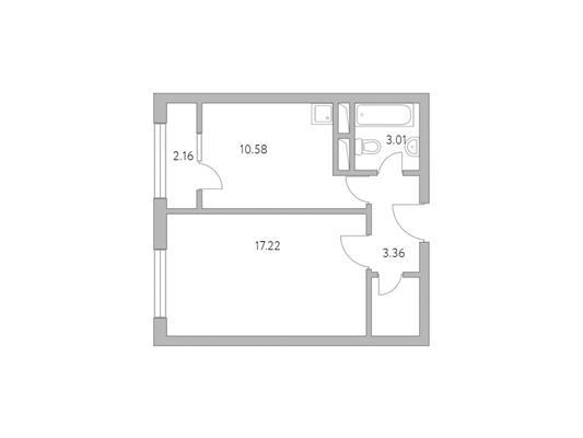 1-комн квартира, 38.39 м2, 5 этаж - фото 1