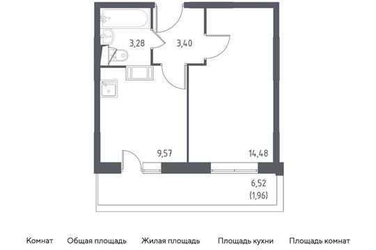1-комн квартира, 32.69 м2, 5 этаж