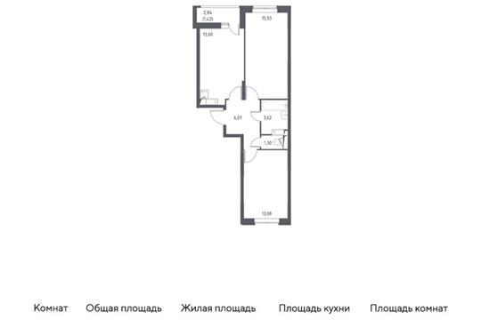 2-комн квартира, 55.02 м2, 5 этаж