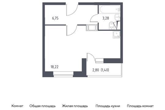 Студия, 29.65 м2, 5 этаж