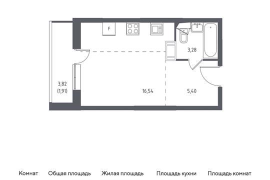 Студия, 27.13 м2, 5 этаж